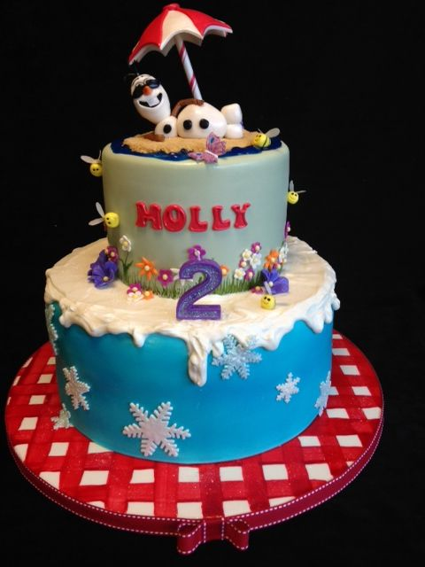 "(Disney's ""Frozen"":  Olaf in the Summer Cake! - Fondant-covered cake board was hand-painted in red gingham Bottom tier was airbrushed blue)"
