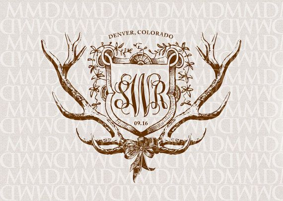 Shield and Antlers Wedding Logo - Wedding Crest - Wedding Monogram - Rustic Wedding