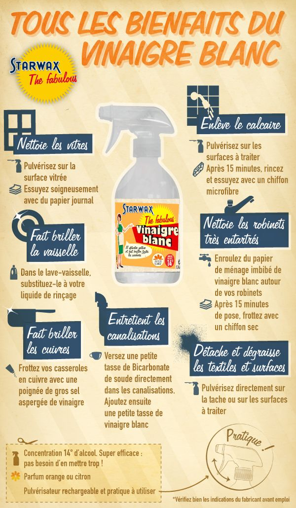 infographie les bienfaits du vinaigre blanc astuces. Black Bedroom Furniture Sets. Home Design Ideas