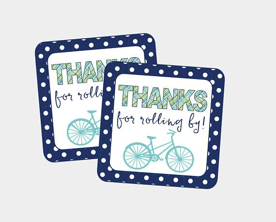 Thanks For Rolling By Favor Tag for Bicycle Birthday Party or
