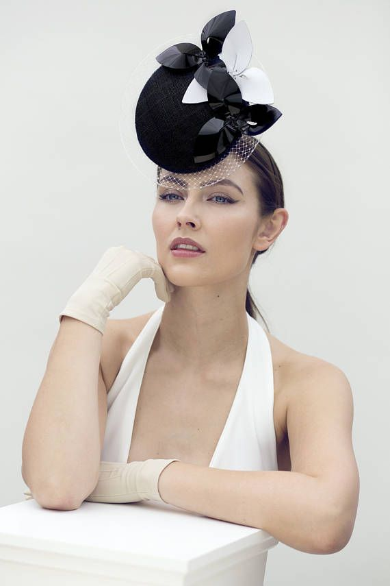 Modern Veiled Disc Hat, Hat for the Races, Millinery with Flowers - Véronique