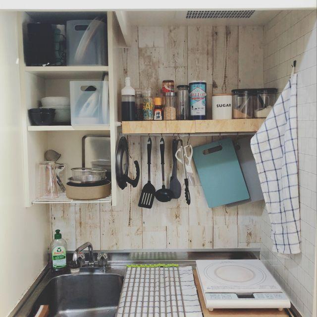 狭いキッチン リメイクシート キッチン収納 Simple セリア などの