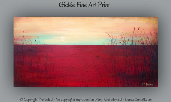 Large wall art, Sunset artwork, Seascape fine art print, Living room decor Coral yellow aqua red home decor Contemporary turquoise Red decor on Etsy, $48.00