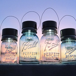 Make your own solar lights with old mason jars. Just add the top attachement.. so cool
