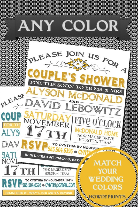 tips better idea than a bridal showerfor sure couples wedding shower invitation customize to