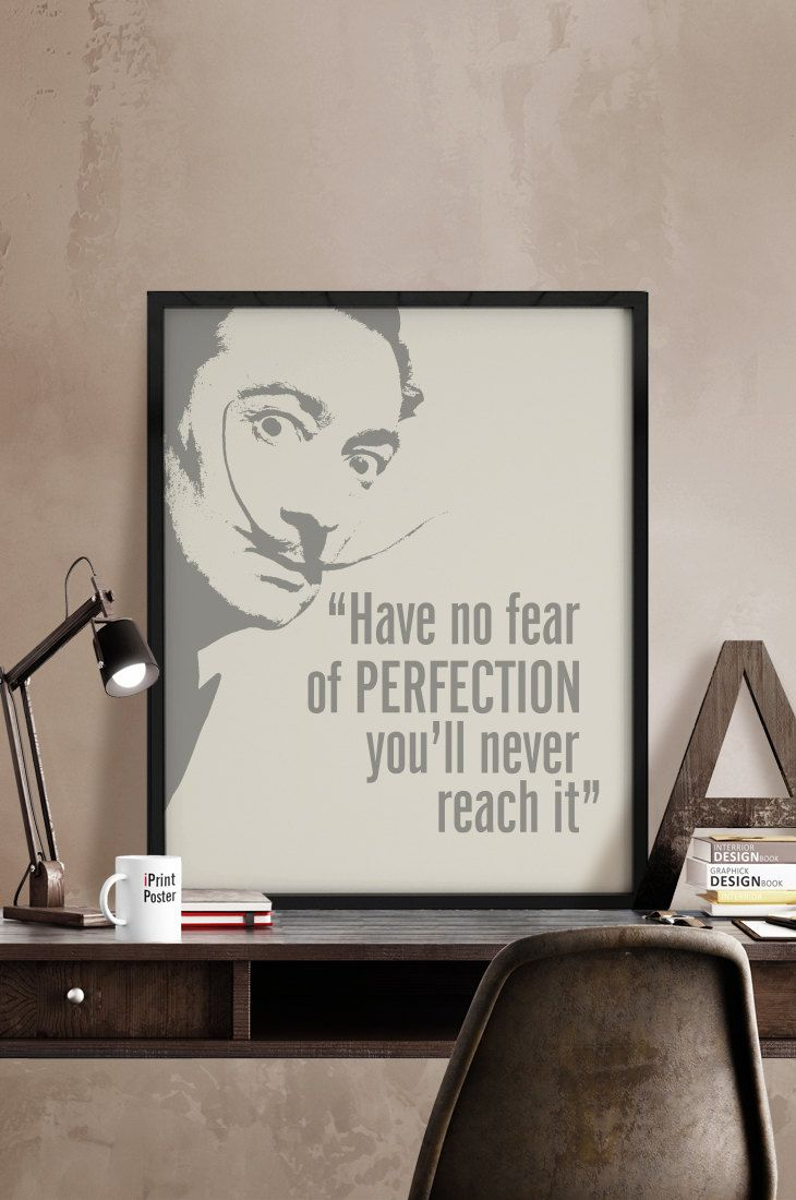 Dali inspirational print Art print Inspirational poster Have no fear of perfection ... Quote print Typography art poster. iPrintPoster. (7.00 EUR) by iPrintPoster