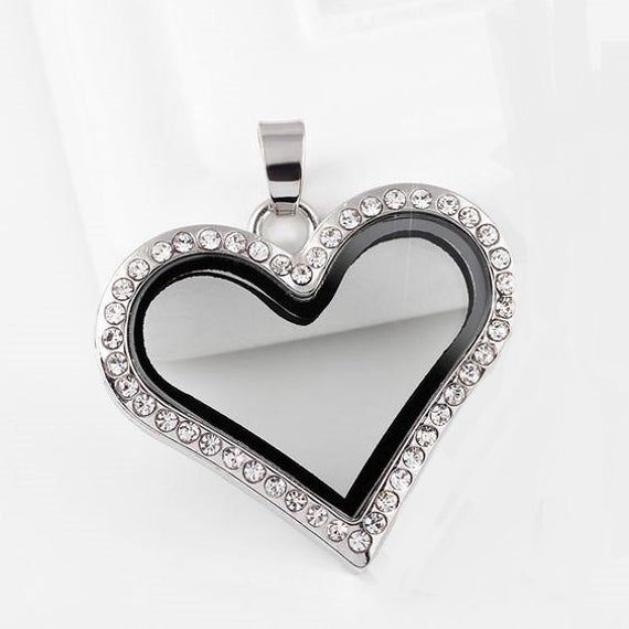 LIVING FLOATING GLASS LOCKET STAINLESS STEEL SILVER W.CRYSTALS LARGE HEART NEW