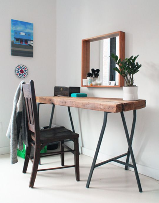 Wooden 'dressing table' idea - love the desk, the chair and the deep rim mirror!