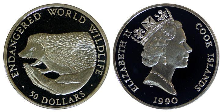 Острова Кука 50 долларов, 1990 год. Еж
