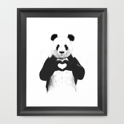 panda bear art http://society6.com/product/all-you-need-is-love-qq5_framed-print#12=52&13=54