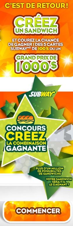 Gagnez 1 000 $ en créant un sandwich virtuel. Fin le 31 mai.  http://rienquedugratuit.ca/concours/subway-sandwich-virtuel/