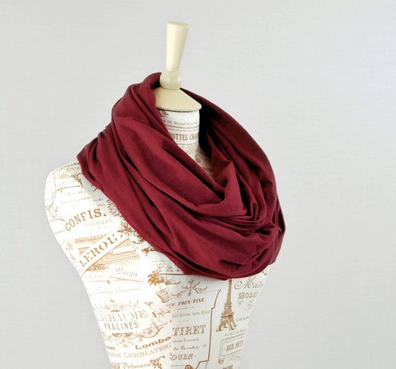 Maroon Infinity Scarf Wine Circle Scarf Jersey by ForgottenCotton