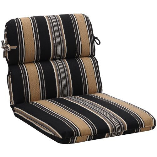 (CLICK IMAGE TWICE FOR UPDATED PRICING AND INFO) #home #cushions #homeimprovement #outdoor #patio #chair #chaircushions #replacamentcushion #patiochaircushion  see more chair cushions at http://zpatiofurniture.com/category/patio-furniture-categories/patio-chair-cushions/ - Pillow Perfect Indoor/Outdoor Black/Tan Stripe Round Chair Cushion « zPatioFurniture.com