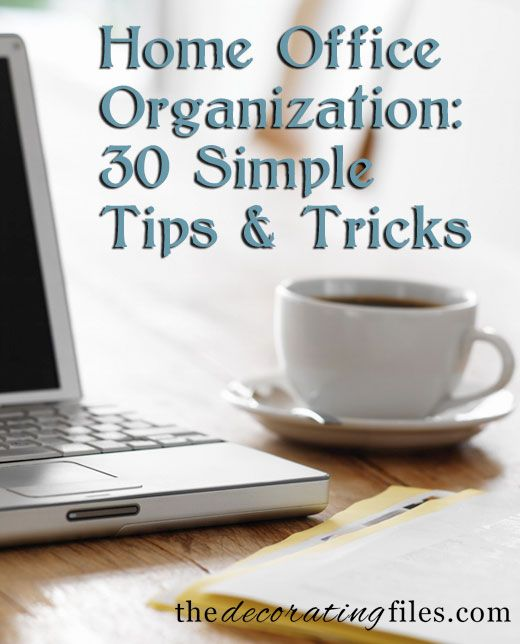 Home Office Organization: 30 Simple Tips and Tricks from The Decorating Files... Love the carpet squares bulletin board!! Could cover the entire length of wall above my craft room work area!!!
