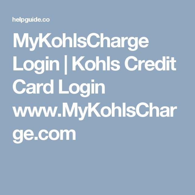 mykohlscharge.com login