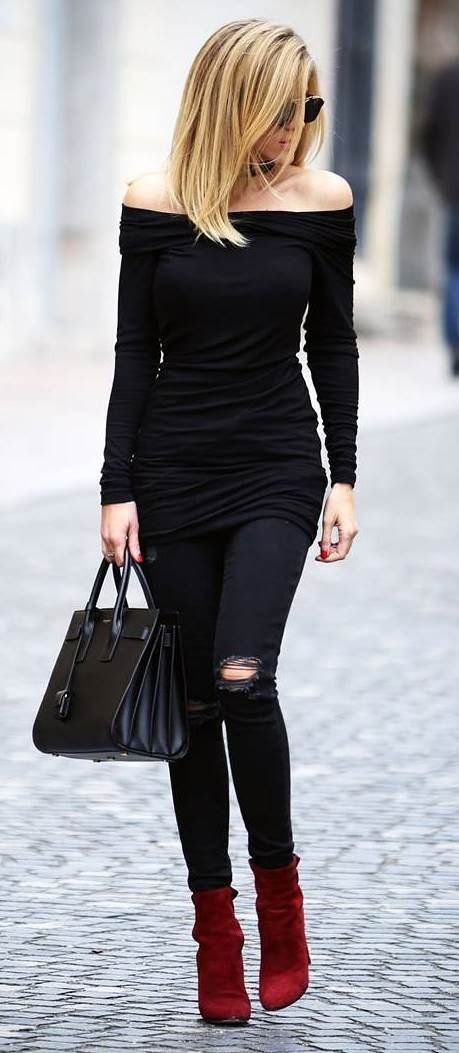 black on black + red boots  I'd tuck in the shirt though.
