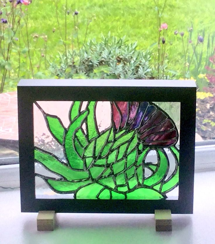 """Thistle"" - part of my Flower Series. Stained Glass Artwork created by Brian Dickinson of #dolittleglass."