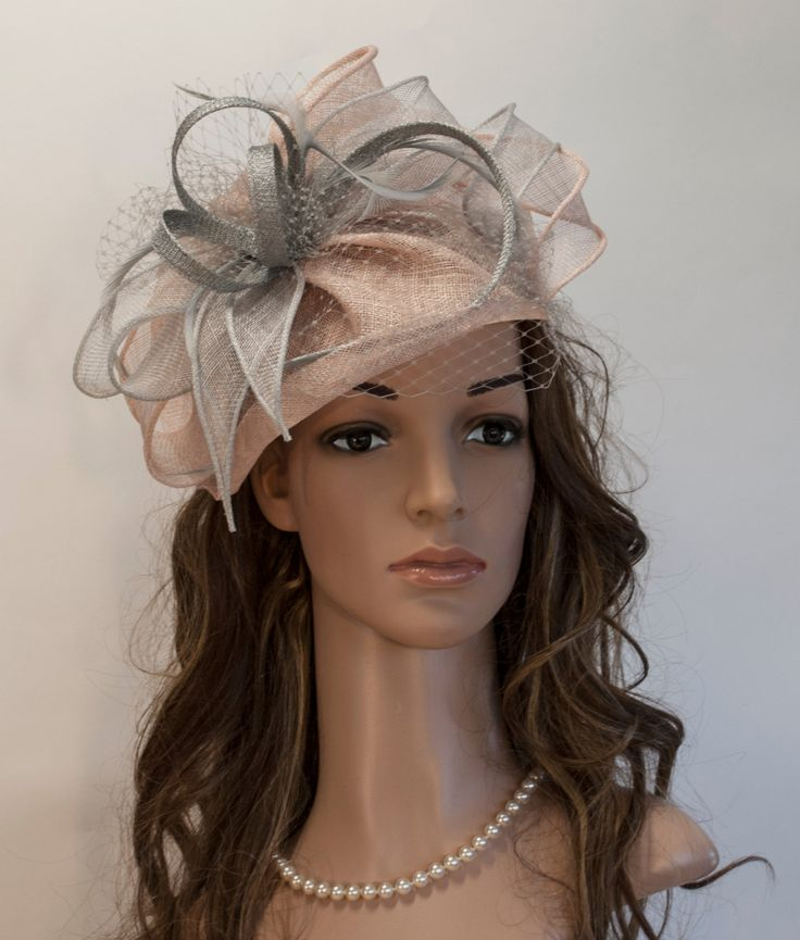 Blush light grey fascinator hat for Derby Ascot by MargeIilane