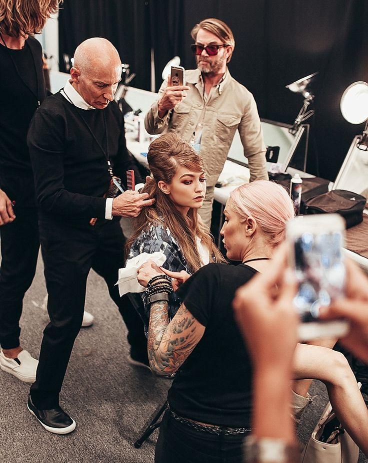 Gigi Hadid at New York Fashion Week backstage Anna Sui for R+Co