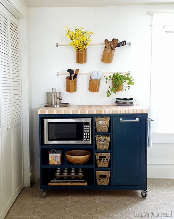 Custom DIY Rolling Kitchen Island ...with butcher block top, and a place for the microwave and trash! {Reality Daydream}