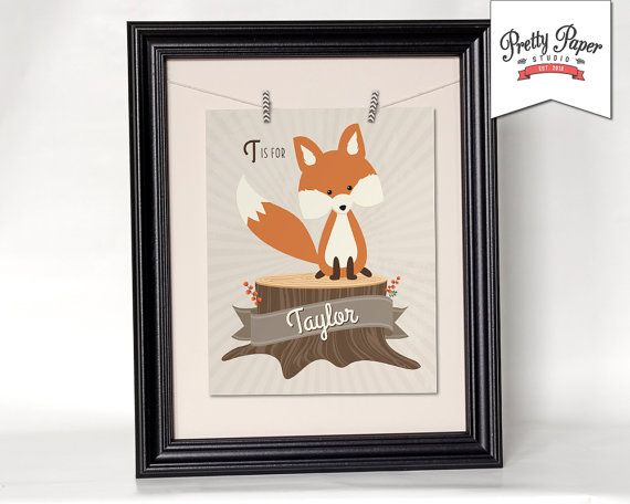 Add some character to your babys nursery or childs room with this darling, personalized, woodland fox printable artwork. Would also make for