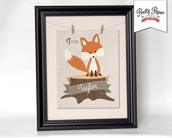 Personalized Woodland Nursery Wall Art // Gender Neutral, Baby Girl, Baby Boy Print // Printable Fox Nursery Decor // Custom Digital Artwork by ThePrettyPaperStudio, $8.50