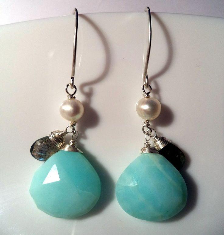 Ohrringe Silber 925 blauer Opal Labradorit Hänger Blau f41