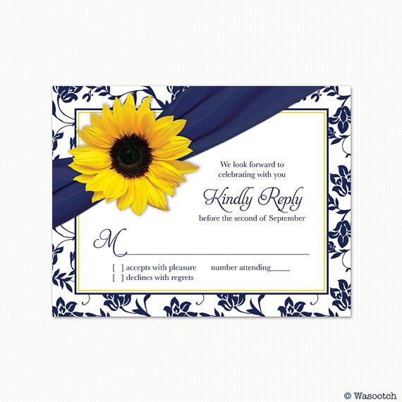 Sunflower Navy Blue Yellow Damask Floral Ribbon by wasootch