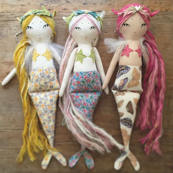 This listing is a deposit for a custom 20 handmade Mountain Mermaid doll. The total price for the basic finished doll is $160. Once you complete your deposit purchase please leave me any specific requests in the comments section of your order! I will list the doll once compleat with a final payment plus shipping. You can choose :  Hair color Skin color Gender Tail color Star bikini color  Extras//add ons: Seaweed crown - $15 Tulle cape - $12 Name embroidery - $15 Corn fiber stuffing instead…