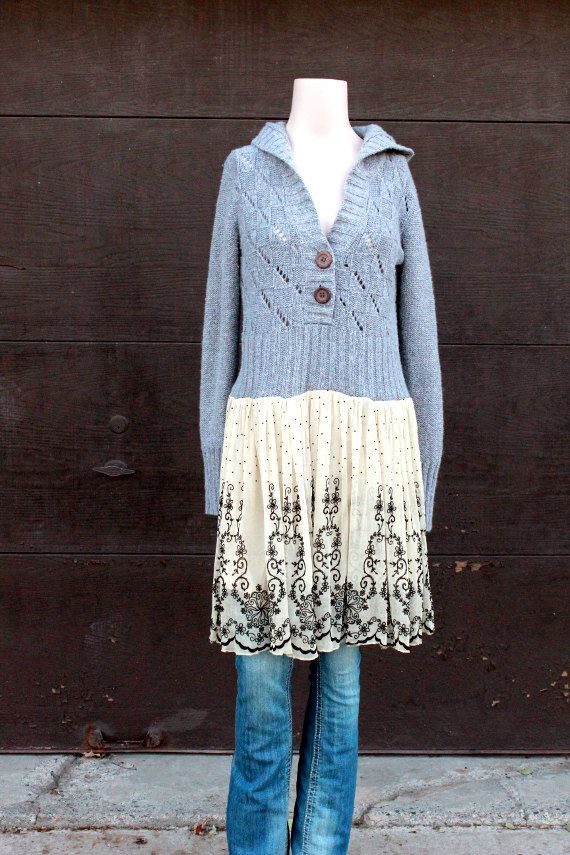 RevivaL Women's Upcycled Boho Sweater Hoodie Shabby by REVIVAL