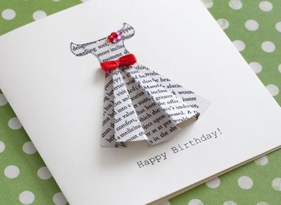How to make a gorgeous greeting card out of the pages of Jane Austen's Pride and Prejudice (with free printable dress template).