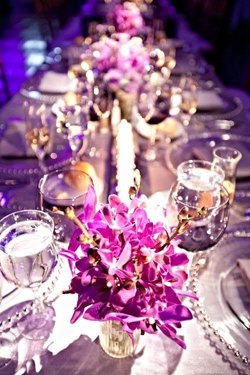 Purple orchids, silver, and great lighting