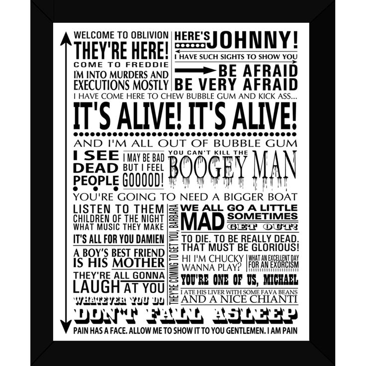 Cute for movie room / family room decor. Horror Movies Framed Print (£28.00) Gorgeous, fun and quirky gifts for you and your home Hunkydory Home