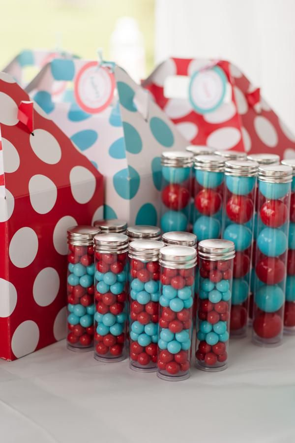 Aqua and Red Polka Dot Party candy and lunch gable boxes