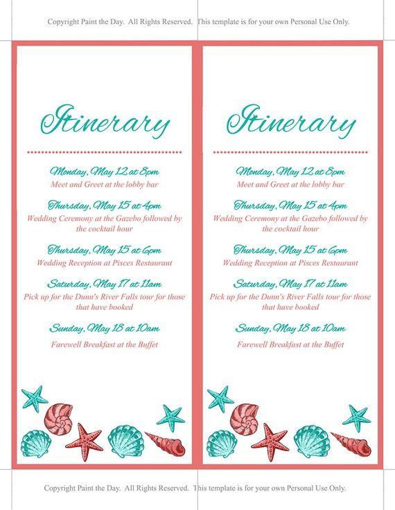 Beach Wedding Itinerary Template - Wedding Planner - Coral