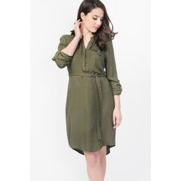 Twill Shirt Dress With Roll-Up Sleeves
