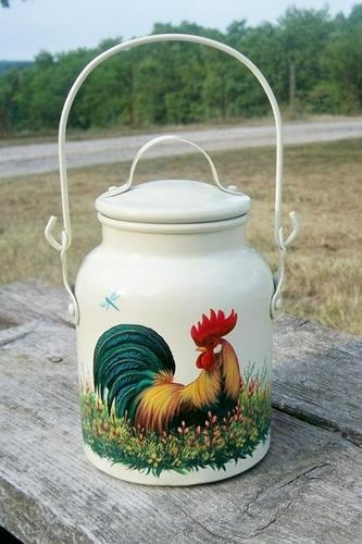 VTG USA Aluminum CREAM CAN MILK PAIL HP Rooster Dragonfly Wildflowers HandPainted