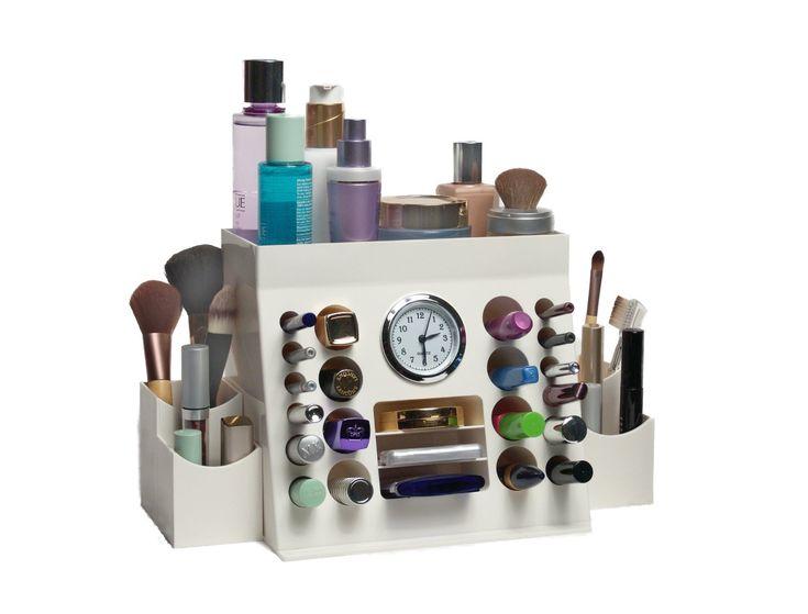 2 Piece Cosmetic Organizer With Built In Quartz Clock!  Http://mycosmeticorganizer.