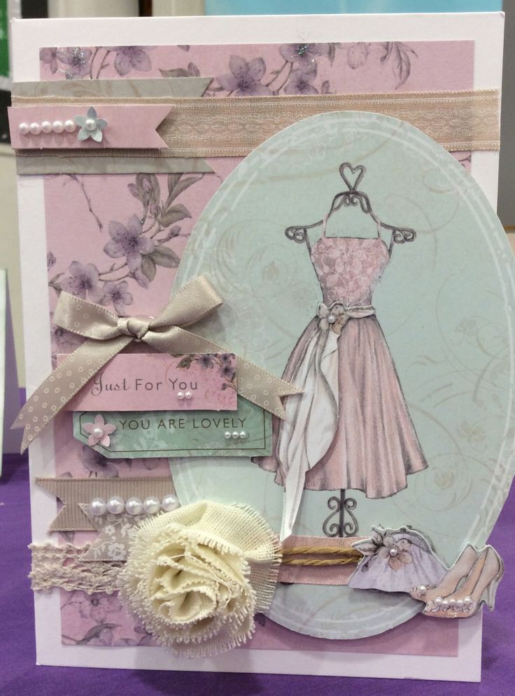 Demo card bellissima - pearls, pleated trim flowers, ribbons and lace add to the vintage feel