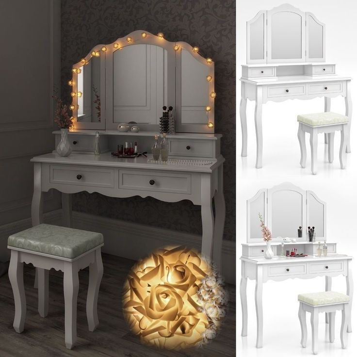 Vintage Makeup Dressing Table White Vanity Storage Drawer Adjust Mirror Lights