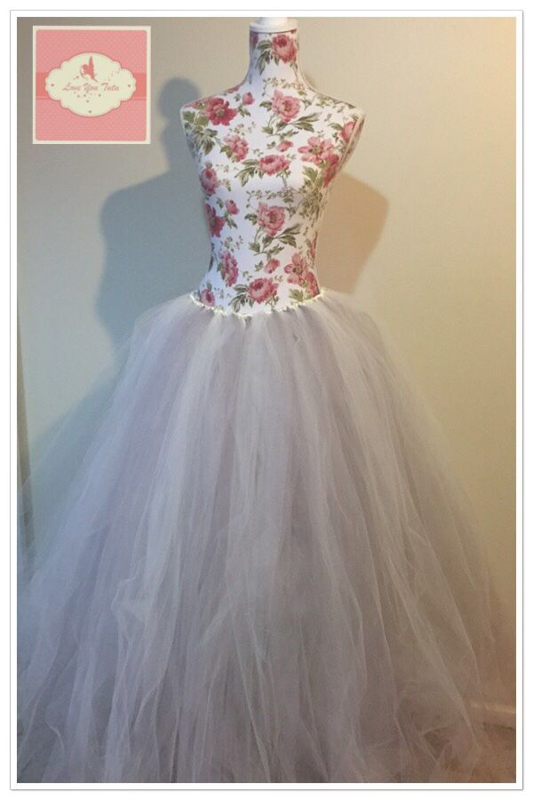 Long tutu dress in ivory and grey