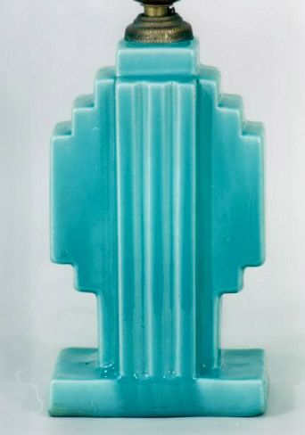 Art Deco Turquoise Pottery Lamp by Strangl