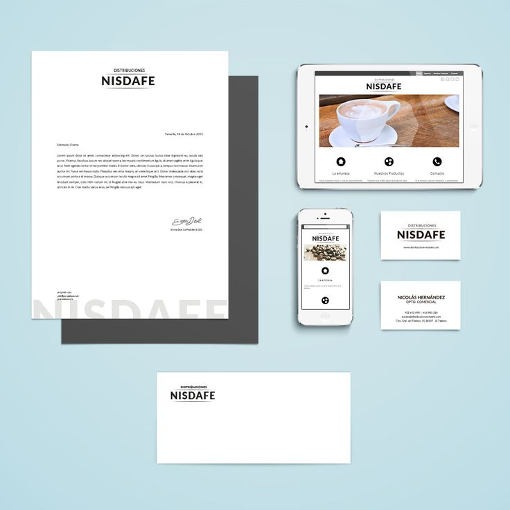 Elementos de Identidad coporativa de Distribuciones Nisdafe: Folio Membretado, Sobres, Tarjetas de Visita y Web Responsive