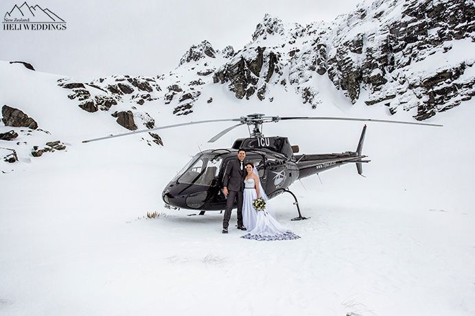 Wedding helicopter, over the stop helicopters