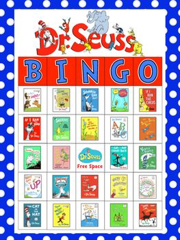 Enjoy this Dr. Seuss themed BINGO game. Perfect for Read Across America Week. Comes with 30 Bingo cards and the calling cards for each book on the cards.