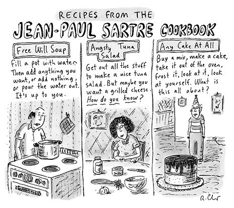 "Ha! Cartoons from the Issue of September 23rd, 2013: ""Recipes from the Jean-Paul Sartre Cookbook"" 