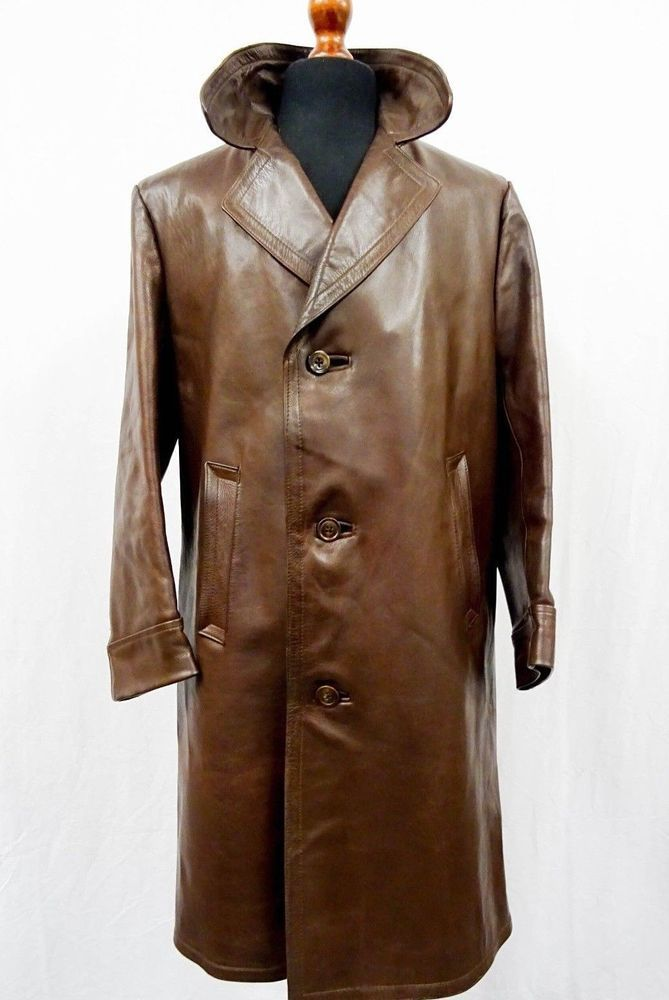 eb22c0272 1940's WW2 German Gestapo Officers Leather Trench Coat Horsehide ...