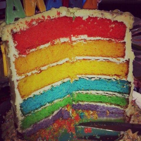 Rainbow pooh bear cake inside