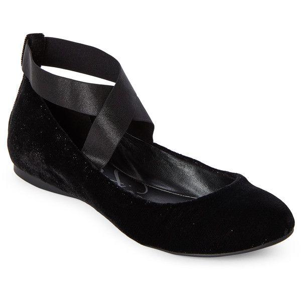 Jessica Simpson Black Mandayss Sparkle Velvet Elastic Strap Flats ($40) ❤ liked on Polyvore featuring shoes, flats, black, black shoes, black sparkly flats, sparkly flats, wedges shoes and jessica simpson shoes
