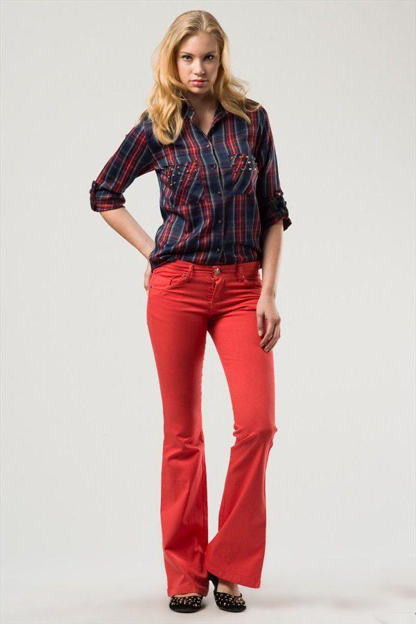 kırmızı ispanyol paça pantolon